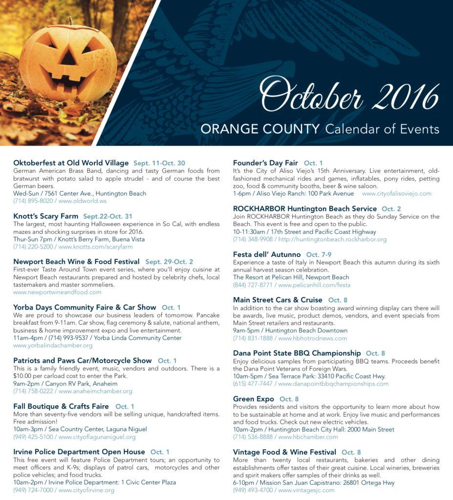 Cheryl Marquis Blog | OC Events October